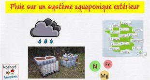 Pluie sur un système aquaponique extérieur